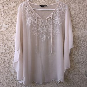 BCBGMaxAzria Sheer, Embroidered Blouse